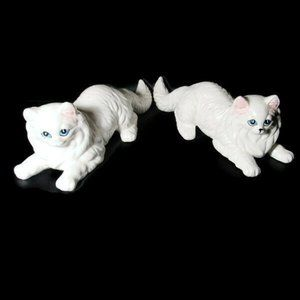 "VTG 1980s Large 10.5"" Ceramic White Persian Kitten"